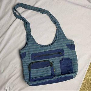 Blue Cotton Boho/Hippie Shoulder Bag